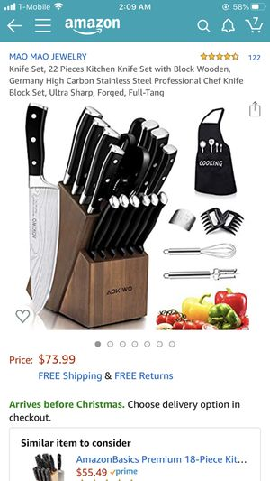 Kitchen knife set with block wooden for Sale in Brea, CA