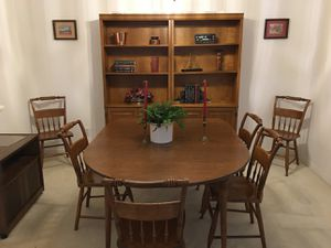 Dining room table, chairs, bookcase for Sale in Clermont, FL