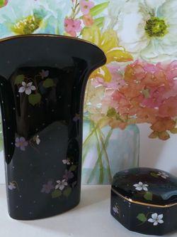 Vintage Black Porcelain Vase & Trinket Box / Jewelry Box for Sale in Los Angeles,  CA