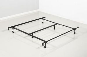Like New Queen Size Metal Bed Frame on Wheels w/Support Bar for Sale in Silver Spring, MD