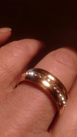 Very nice men's gold tone with white stones wedding band ring size 10 New for Sale in North Las Vegas, NV