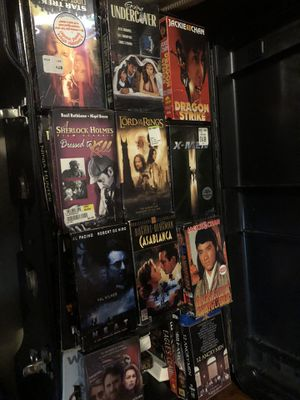 Plastic trunk full of vhs tapes and some for Sale in Virginia Beach, VA