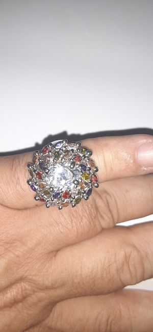 Womans silver plated crystal ring with color stones for Sale in Arlington, TX