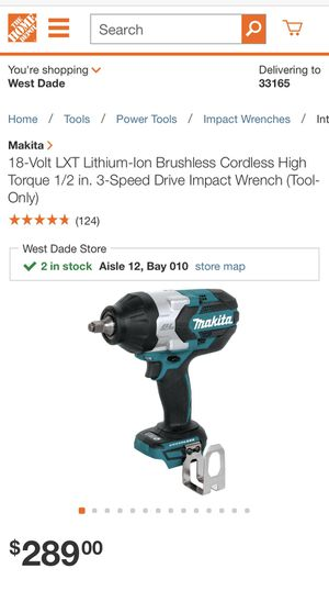 18-Volt LXT Lithium-Ion Brushless Cordless High Torque 1/2 in. 3-Speed Drive Impact Wrench (Tool-Only)no battery no charger for Sale in Miami, FL