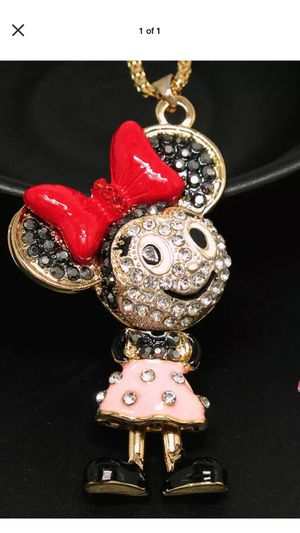 Betsey Johnson Mini Mouse rhinestone 3D movement🌸 necklace pink & black 🌸on a 18 inch🌸 gold chain for Sale in Northfield, OH