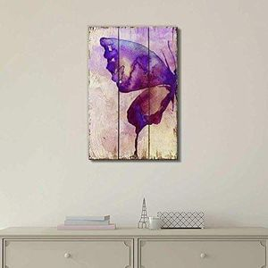 ((FREE SHIPPING)) purple watercolor butterfly wings over wood panels - nature - canvas art home decor Painting like print for Sale in Los Angeles, CA