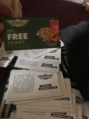 Wingstop free combo cards for Sale in Moreno Valley, CA