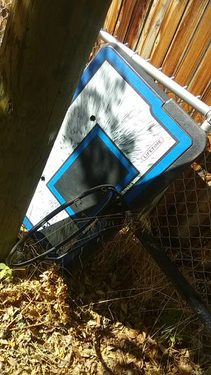 Nice basketball hoop 70 cash our open to trades just need the net for Sale in Denver, CO