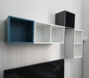 Ikea Valje White Gray Teal Floating Wall Cabinet Shelves for Sale in Hollywood, FL