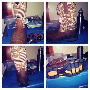 Size 10.5 Camo and brown, Ariat steel toe. Never been worn excellent condition paid $180 for the I'm asking $100 or best offer...... for Sale in Medina, OH