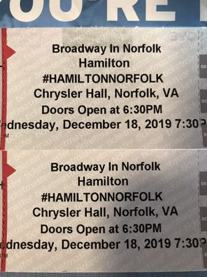 Two tickets for Hamilton, Wednesday December 18, 7:30 Chrysler Hall for Sale in Virginia Beach, VA