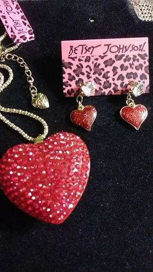 Betsey Johnson red crystal heart necklace / earrings for Sale in Fresno, CA