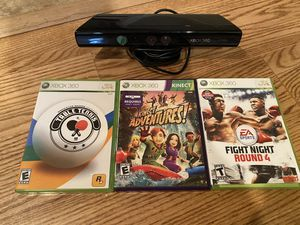 Xbox 360 Kinect and 3 Games for Sale in Alexandria, VA