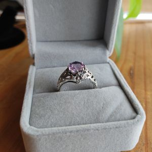 Retro vintage silver amethyst ring - size 7.75 - filigree antique - engagement/promise ring for Sale in Sheridan, CO
