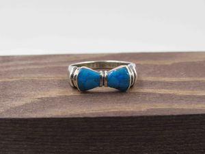Size 7.25 Sterling Silver Blue Inlay Band Ring Vintage Statement Engagement Wedding Promise Anniversary Bridal Cocktail Friendship for Sale in Lynnwood, WA
