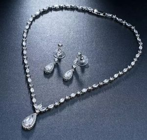 New platinum faux-diamond dangle Necklace earrings birthday jewelry set for Sale in Troy, MI