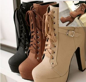 Women's leather Thicke high heel short boots black beige and brown for Sale in Detroit, MI