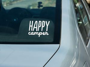 Happy Camper Window Decal for Sale in South Zanesville, OH