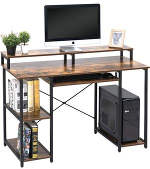 TOPSKY Computer Desk with Storage Shelves/Keyboard Tray/Monitor Stand Study Table for Home Office (Industrial wood color) for Sale in Fresno, CA
