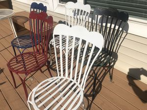 Vintage wrought iron chairs 5 for Sale in Huntley, IL