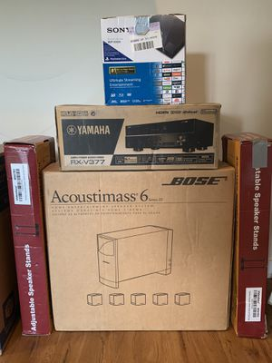 5.1 Bose Home theater system + Yamaha receiver + Sony blu Ray + speaker stand for Sale in Chantilly, VA