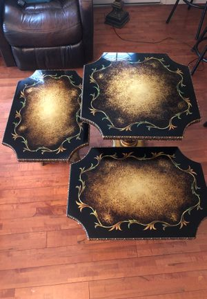 Antique glass top tables (set of 3) for Sale in Queens, NY