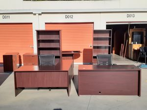 Excellent cherry L shaped desk with matching double pedestal cherry desk. Package deal! for Sale in Santa Ana, CA