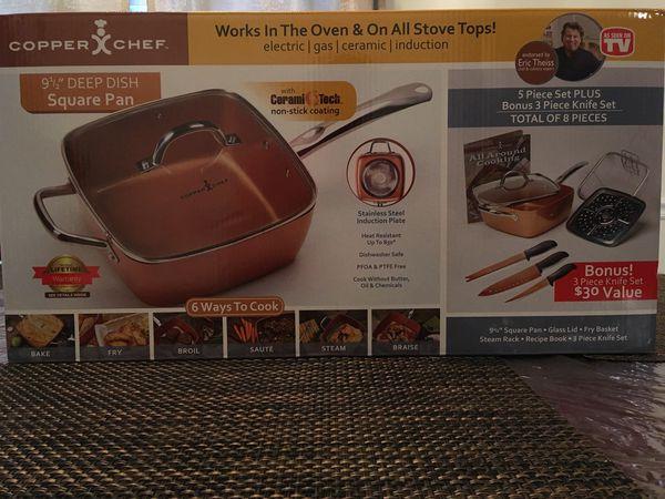 "Copper Chef 9.5"" Deep Square Pan 5pc Set"