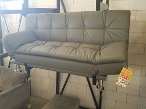 Grey Leather Futon for Sale in Dallas, TX