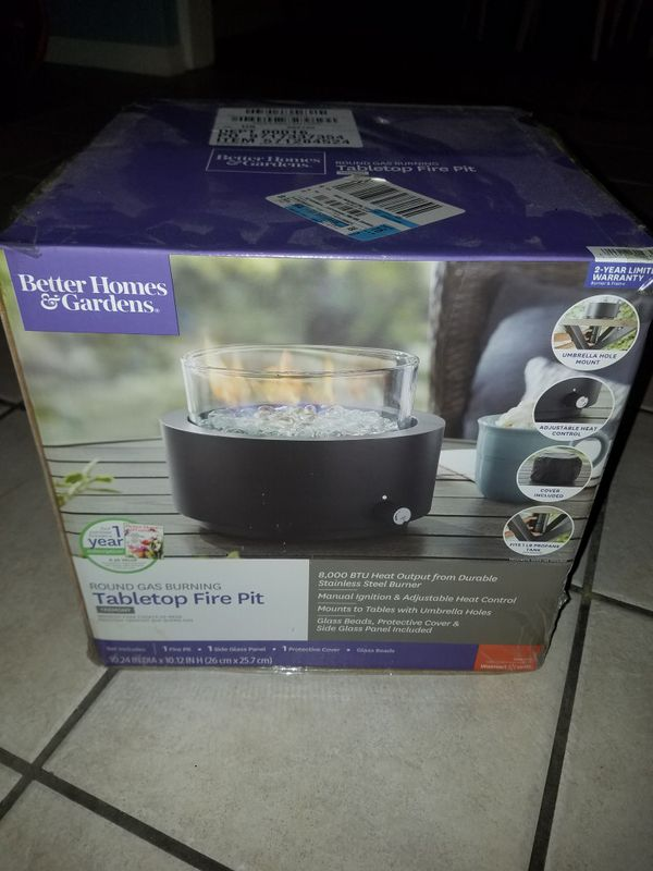BRAND NEW Better Homes & Gardens round gas burning table top fire pit