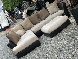 Free sectional couch sofa microfiber needs cleaning for Sale in Rocklin, CA