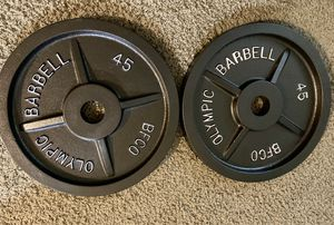 Olympic weight plates/BFCO barbell for Sale in Kent, WA