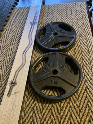 Curl bar + 40 lbs weights for Sale in Lawrenceville, GA