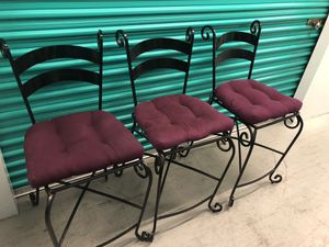3 beautiful black metal bar stools chairs for Sale in Lake Worth, FL