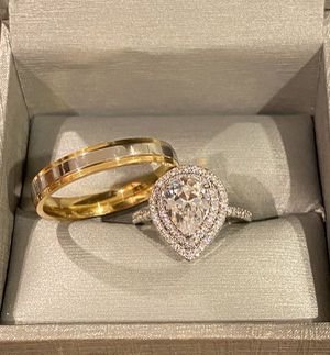 Stamped 925 Sterling Silver and 18K Gold plated Engagement/Wedding Ring Set - Code S12 for Sale in Houston, TX