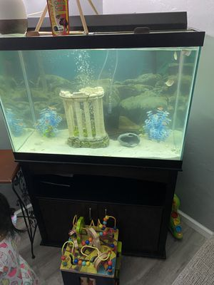 Aquarium tank 65gal hightop comes with filters lights decorations for Sale in Sacramento, CA