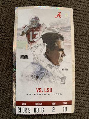 Alabama vs LSU 2019 NCAA Football SEC Ticket Stub for Sale in Franklin, TN