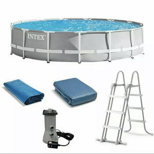"⛱️ INTEX 15' x 42"" Prism Frame Pool Set w/ Filter Pump, Ladder, Cover, Cloth NEW for Sale in Alpharetta, GA"