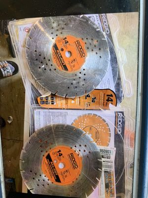 """Ridgid 14"""" diamond blades used 2 for 75 no less 139.99 each new for Sale in Plant City, FL"""