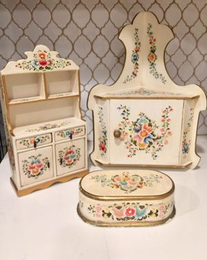 Lot 3 hand painted wooden corner wall hanging cabinet & jewelry boxes made in Peru for Sale in Anaheim, CA