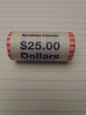 2010 Abraham Lincoln Presidential Golden Dollar Uncirculated. Bank Roll for Sale in Tonawanda, NY