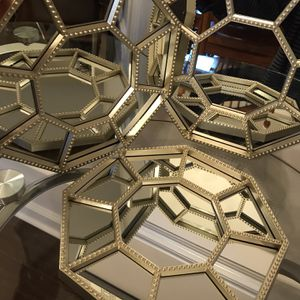 "SET OF 3 - Octagonal Hanging Mirrors (light gold plastic frames) 10"" for Sale in Lexington, KY"