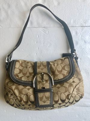 COACH Soho Signature Khaki Jacquard & Brown Leather Flap Hobo Handbag G060-10297 for Sale in Amherst, OH
