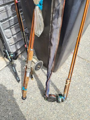 Vintage Fishing Rods and Reels Salmon Stealhead, Fly Fishing, Automatic Reel, Bamboo for Sale in Black Diamond, WA