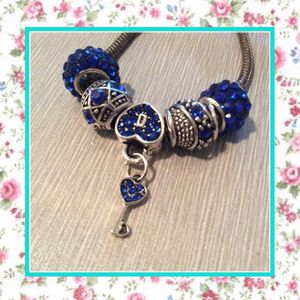 5PC DARK BLUE BEAD CHARMS DIY HEART KEY ONLY (WIDE WHOLE MURANO 4 PANDORA OR TROLL BEAD FIT) for Sale in Las Vegas, NV