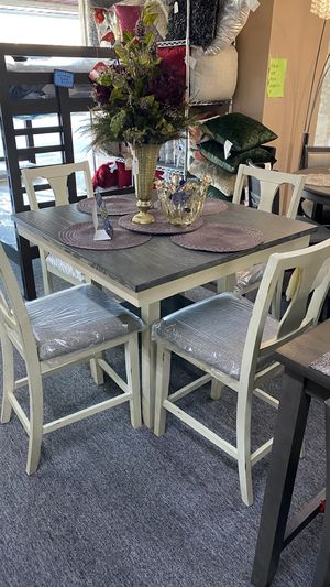Beige and Dark brown top Counter Height Table Set with 4 chairs 7UFA for Sale in Euless, TX