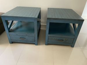 Two Wooden Teal Blue couch end tables from Rooms To Go. PERFECT CONDITION! for Sale in Miami, FL