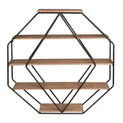 Kate and Laurel Lintz Large Octagon Shaped Floating Wood Book Shelves for Decorative Wall Display, Black Metal Frame with Rustic Brown Shelves for Sale in Sugar Land,  TX