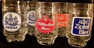 (5) Austrian & German Bier, Beer, Mugs ZIPFER, HANSA x 2, VILLACHER & RIEDER thumbprint impression & handles for Sale in Tacoma, WA