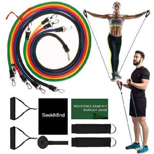 11 piece resistance band exercise set for home outdoor yoga pilates and fitness workout. Yellow 10lb red 15lb green 20lb blue 25 black 30 for Sale in Phoenix, AZ